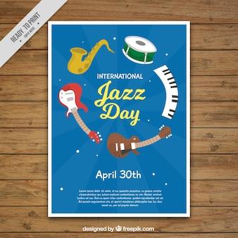Folleto del día de jazz con instrumentos de música