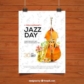 Folleto del día de jazz con violín y saxofón de acuarela
