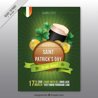 Folleto del día de San Patrick con cerveza