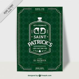 Folleto  del día de San Patrick verde de rombos