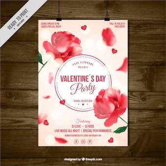 Folleto del día de san valentín con decoración floral y efecto bokeh