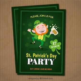 Folleto del día de ST. Patrick de elfo divertido