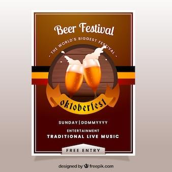 Folleto del festival de la cerveza en diseño vintage