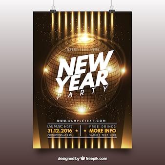 Folleto dorado brillante de año nuevo