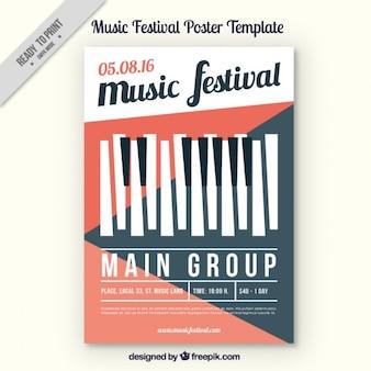 Folleto geométrico de festival de música con teclado de piano