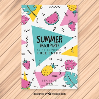 Folleto memphis de fiesta de verano con frutas