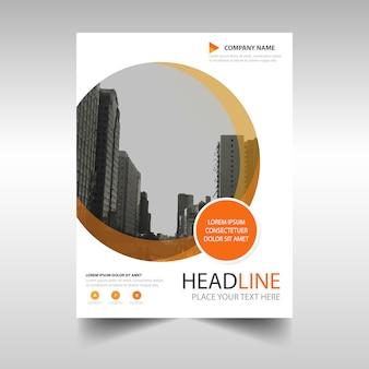 folleto naranja con formas circulares
