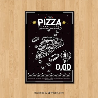 Folleto retro de pizza dibujada a mano