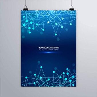 Folleto tecnológico azul con líneas y puntos