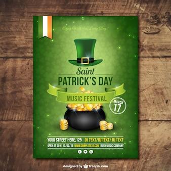 Folleto verde del día de San Patrick con sombrero y olla