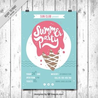 Folleto vintage de fiesta de verano con un helado delicioso