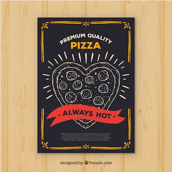 Folleto vintage de pizza en forma de corazón