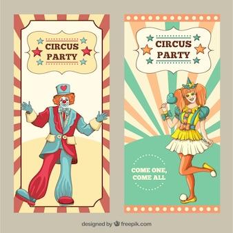 Folletos de circo dibujados a mano en estilo vintage