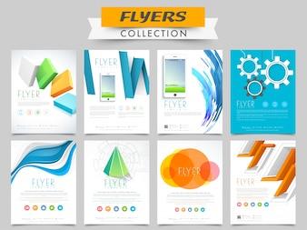 Folletos de Creative Business o colección de plantillas con elementos abstractos