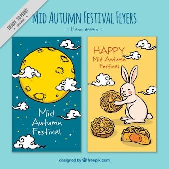 Folletos decorativos de festival del medio otoño dibujado a mano