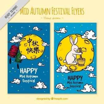 Folletos dibujados a mano de festival del medio otoño