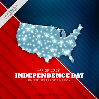 Fondo abstracto americano con mapa hecho de estrellas