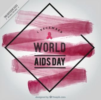 Fondo abstracto con pincelada de acuarela del día mundial del sida