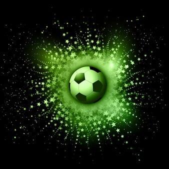 Fondo abstracto con rayos de estrellas con pelota de fútbol