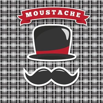 Fondo abstracto de sombrero y bigote de movember