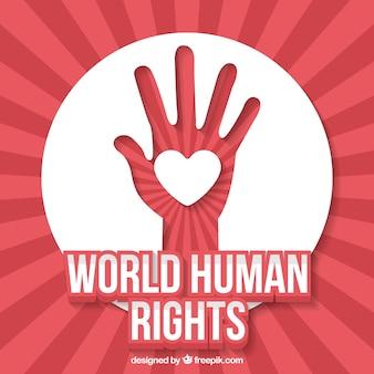 Fondo abstracto del día mundial de los derechos humanos de mano con corazón