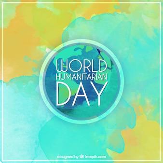 Fondo abstracto del día mundial humanitario en efecto acuarela