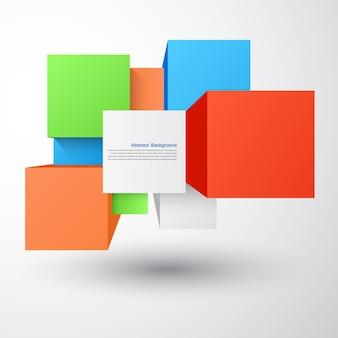 Fondo abstracto del vector. Objeto cuadrado y 3d