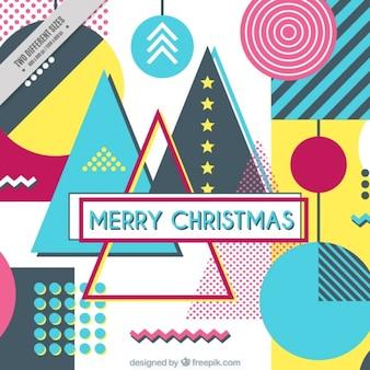 Fondo abstracto en estilo memphis de feliz navidad