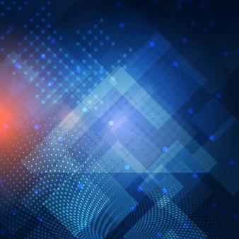 Fondo abstracto techno con líneas y puntos que conectan