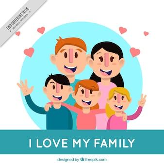 Fondo adorable de padres con tres hijos