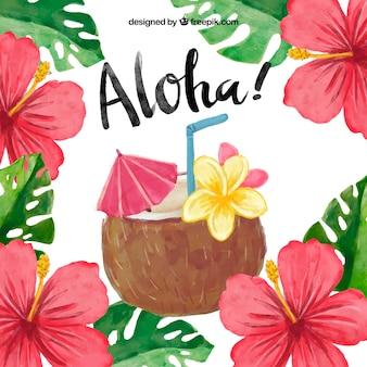 Fondo aloha con cocktail de coco en acuarela