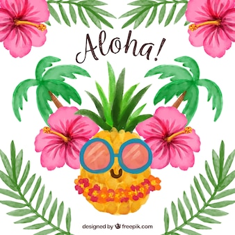 Fondo aloha piña acuarela