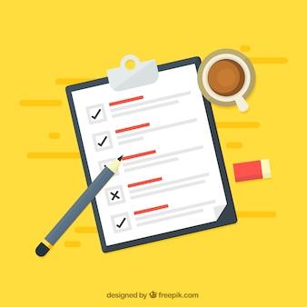 Fondo amarillo con lista de verificación y taza de café