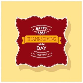 Fondo amarillo con una etiqueta para el día de acción de gracias