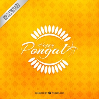 Fondo amarillo de felicitación de Pongal