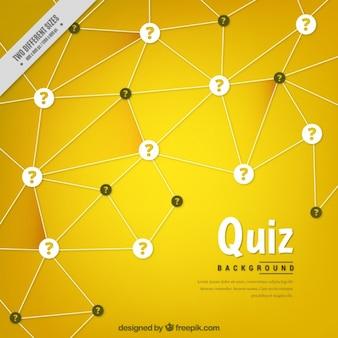 Fondo amarillo geométrico con signos de interrogación