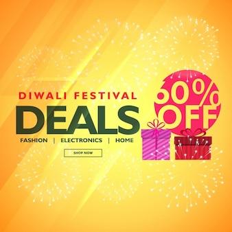 Fondo amarillo para los descuentos en diwali