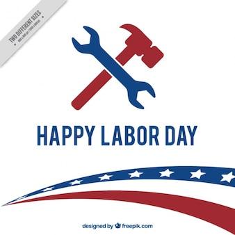 Fondo americano del día del trabajo con llave inglesa y martillo