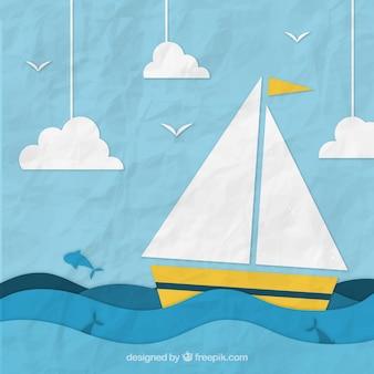Fondo arrugado con barco de papel navegando