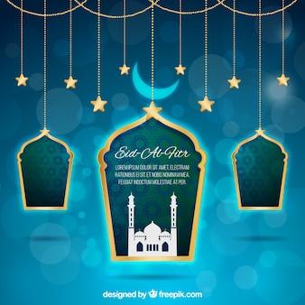 Fondo azul bokeh de eid al fitr con ventanas