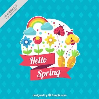 Fondo azul con artículos de primavera en diseño plano
