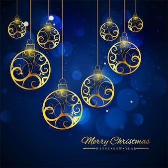 Bolas dorado fotos y vectores gratis - Bolas de navidad doradas ...