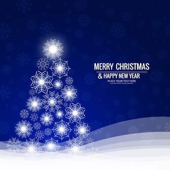 Fondo azul con brillante árbol de navidad
