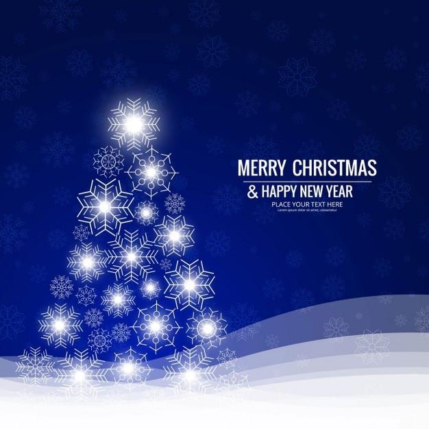 fondo azul con brillante rbol de navidad
