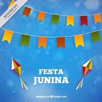 Fondo azul con decoración de fiesta junina