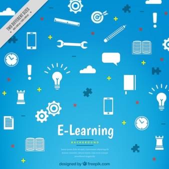 Fondo azul con diferentes elementos de aprendizaje en línea