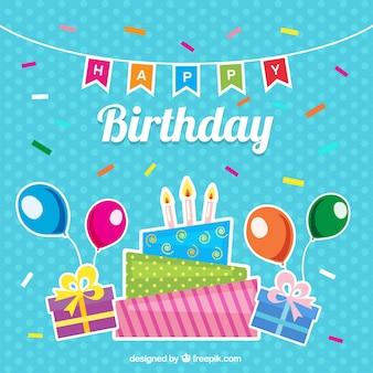Fondo azul con elementos de cumpleaños y confeti