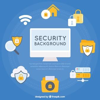 Fondo azul con elementos de seguridad en diseño plano