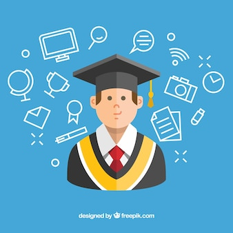 Fondo azul con estudiante y artículos de graduación