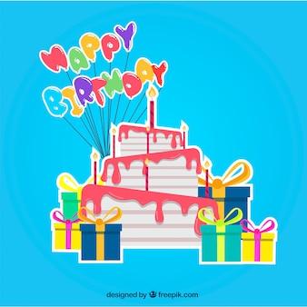 Fondo azul con tarta de cumpleaños y regalos